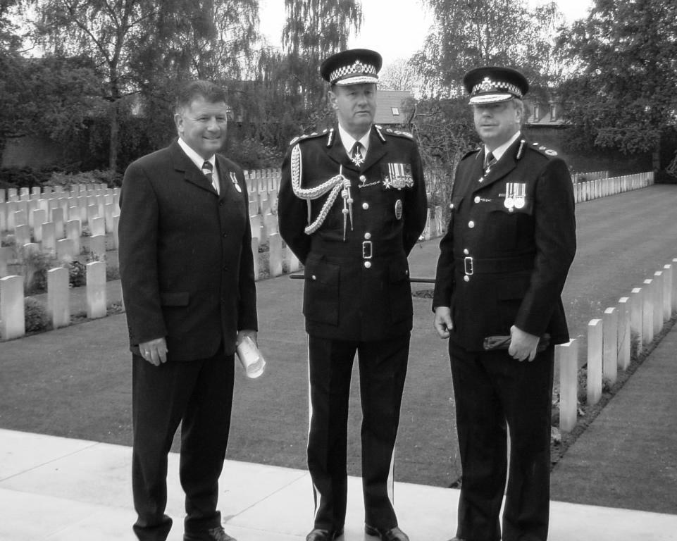 Commisioner Sir John Stevens with DAC John Grieve and Jon Nicholls at the Arras Memorial 2002