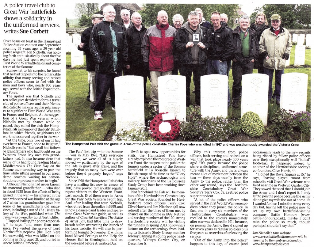 Times article 'Bobbies March to the beat of a different drum' 3 November 2012